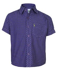 Babyhug Half Sleeves Shirt Purple - Checks Print