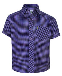 Babyhug Half Sleeves Shirt Purple - Checks Print