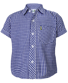 Boys Half Sleeve Shirt White And Navy - Checks Print