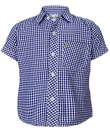 Babyhug Half Sleeves Shirt White And Navy - Checks Print