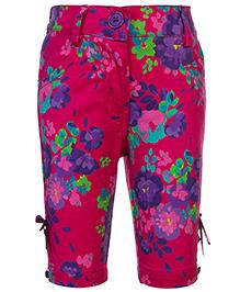 Babyhug Quarter Length Capri - Floral Print