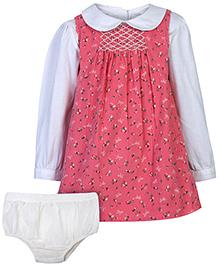 Nauti Nati Sleeveless Frock With Inner T-Shirt And Bloomer - Pink