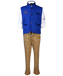 Noddy Full Sleeves Shirt And Trouser With Jacket  - Royal Blue