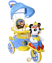 Fab N Funky Musical Tricycle With Push Handle - Blue And Yellow