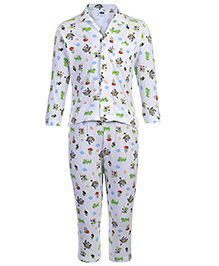 Teddy Full Sleeves Night Suit - Multi Print