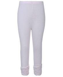Dreamszone Solid Color Leggings Gathered Hem - White