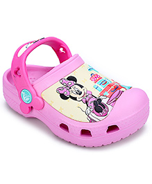 Crocs Clogs With Back Strap Pink - Minnie Mouse Graphic