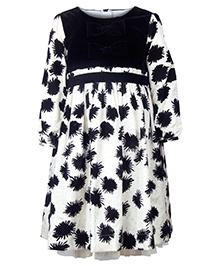 My Lil Berry Flock Printed Dress - White And Black