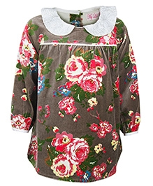My Lil Berry Floral Velvet Dress - Multi Color
