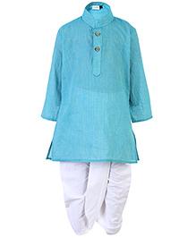 Babyhug Mandarin Collar Kurta With Dhoti - Aqua Blue