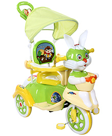 Fab N Funky Musical Tricycle Rabbit Face - Green And Yellow