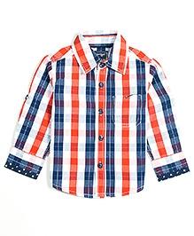 Nauti Nati Full Sleeves Shirt Navy And Orange - Checks Print