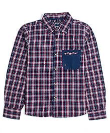 Nauti Nati Turn Up Sleeves Plaid Shirt - Navy Blue And Red
