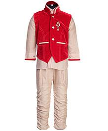 Babyhug Full Sleeves Kurta And Jodhpuri Pajama With Jacket - Dark Red And Cream