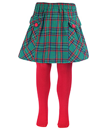 Nauti Nati Skirt With Footed Tights Stockings - Green
