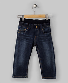 Black Jeans With Ribbed Waistline