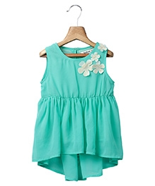 Beebay Sleeveless Flower Applique Top - Light Green