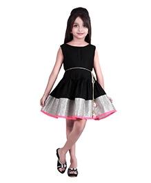 K&U Sleeveless Indowestern Dress - Black