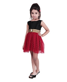 K&U Sleeveless Indowestern Dress - Diamond Brooch