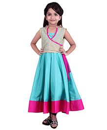 K&U Sleeveless Indowestern Dress With Jacket - Aqua