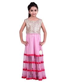 K&U Sleeveless Indowestern Dress - Sequins Work