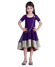 K&U Short Sleeves Indowestern Dress Purple - Silver Thread Work