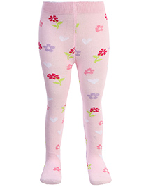 Mustang Footed Tights Stockings Pink - Floral Print