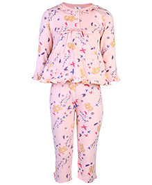 Cucumber Full Sleeves Night Suit - Pink