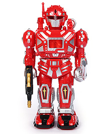 Fab N Funky Super Warrior Robot Electronic Sound Baby Toy Red And Silver - 26 cm