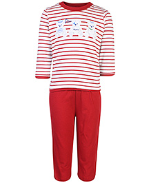 Zero Full Sleeves T-Shirt And Leggings - Teddy And Stripes Print