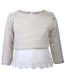 Nauti Nati Full Length Sweater Top - Net Frill