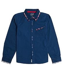Nauti Nati Full Sleeves Plaid Trim Shirt - Navy Blue