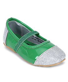 Dora Belly Shoes - Green And Silver