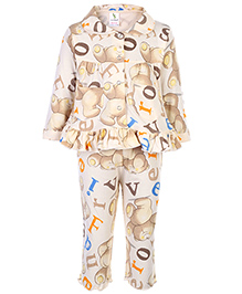Cucumber Full Sleeves Night Suit - Teddy Bear And Alphabet Print