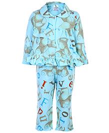 Cucumber Full Sleeves Night Suit - Teddy Bear And Alphabet Print