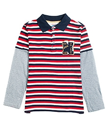 Nauti Nati Doctor Sleeves T-Shirt Red And Navy - Stripes Print