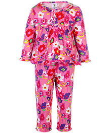 Cucumber Full Sleeves Night Suit - Floral Print