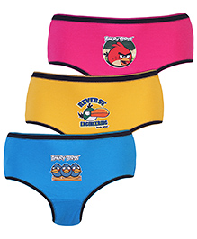 Angry Birds Printed Briefs Set Of 3 - Fuchsia Yellow And Royal Blue