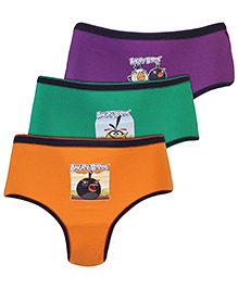 Angry Birds Printed Briefs Set Of 3 - Purple Orange And Green