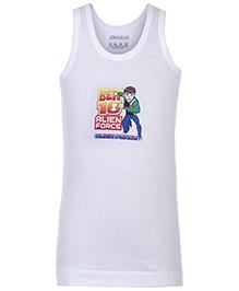 Ben 10 Sleeveless Vest White - Alien Force Print