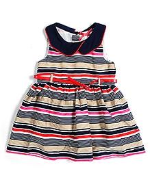 Nauti Nati Sleeveless Frock With Waistband - Stripes Pattern
