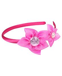 Barbie Hair Band Pink - Floral Applique