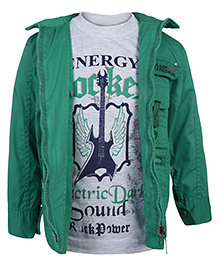 Noddy Printed T-Shirt With Jacket - White And Green