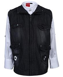 Noddy Full Sleeves Shirt With Jacket - Black