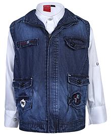 Noddy Shirt With Sleeveless Jacket - Blue And White