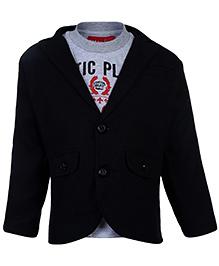 Noddy Full Sleeves T-Shirt With Jacket - Black