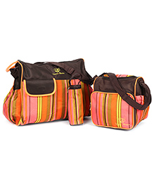 Fab N Funky Mother Bag Set - Orange And Brown