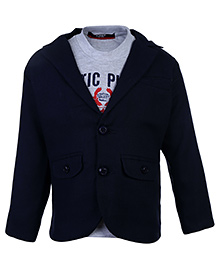 Noddy Full Sleeves T-Shirt With Jacket - Navy Blue And Grey