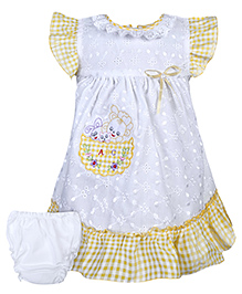 Babyhug Ruffled Sleeves Frock With Bloomer - White And Yellow - 0 To 6 Months