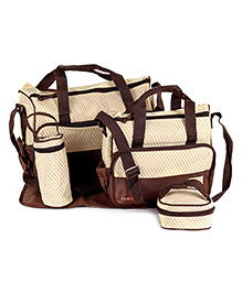 Fab N Funky Mother Bag Set - Coffee Brown And Cream